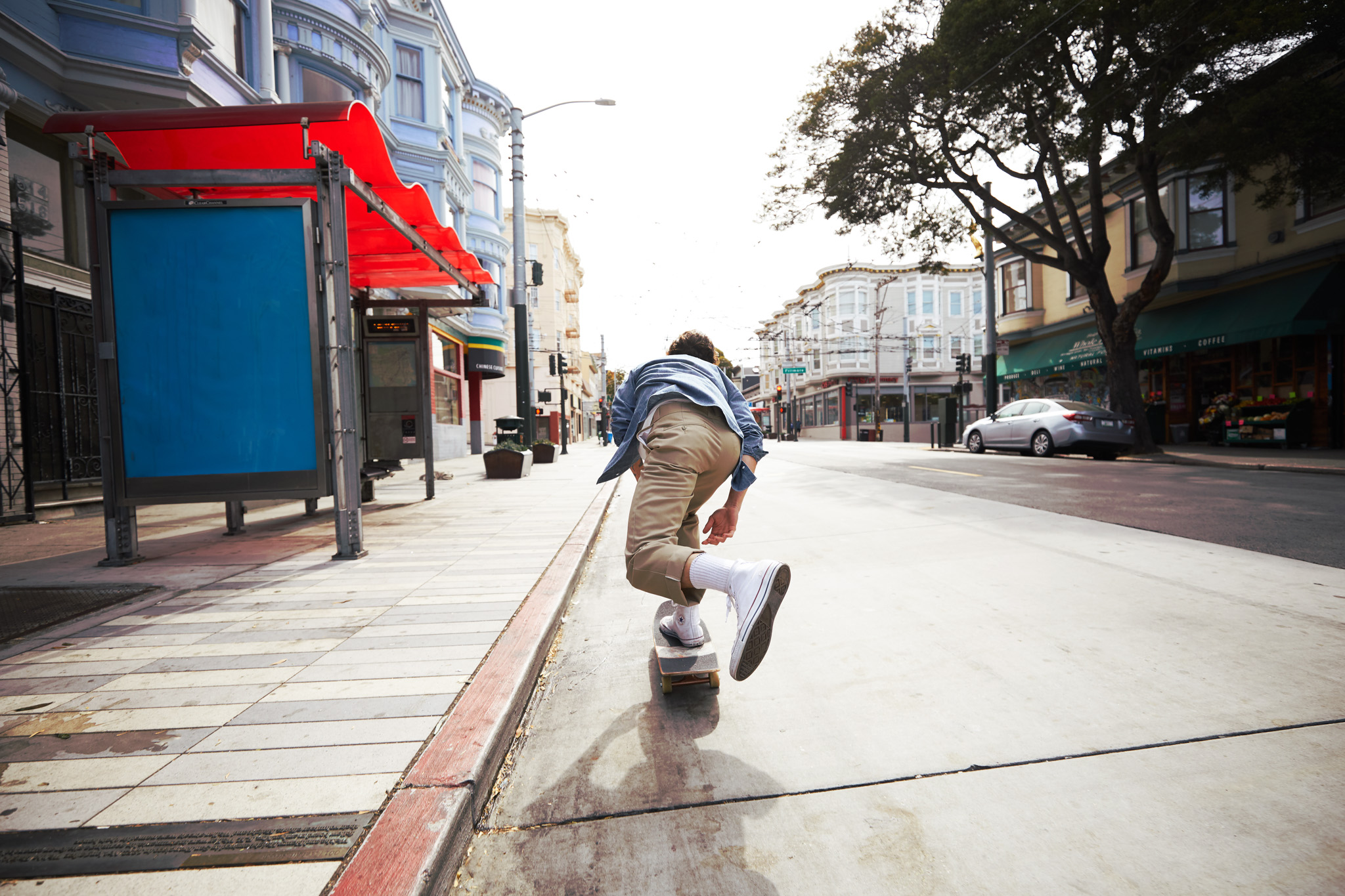 Man Skateboarding down San Francisco
